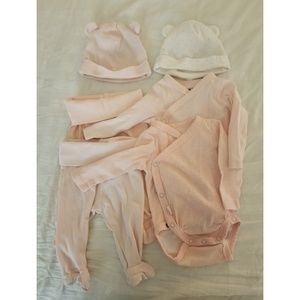 H&M newborn wrapover bodysuit, footed pants, hats